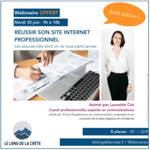 Webinaire Réussir son site Internet professionnel_Laurette Cot_Le long de la crête_300620