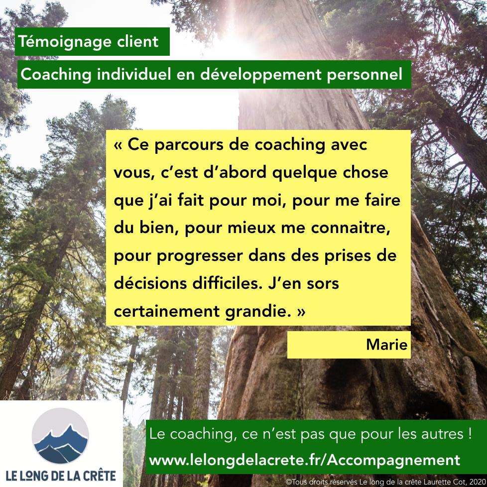 Témoignage clients_Laurette Cot Le long de la crête_Marie